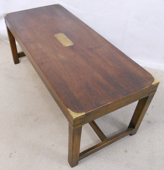 Long Mahogany Coffee Table With Brass Corners